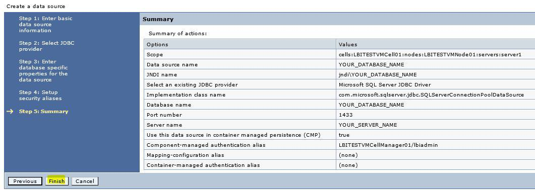 How To Create new DataSource for LBI in Websphere
