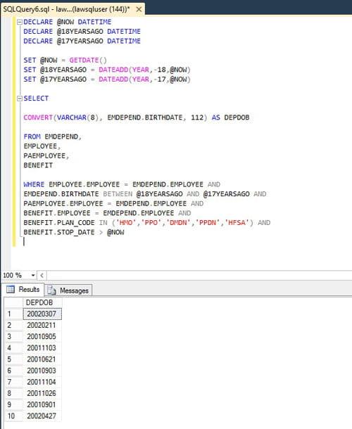 SQL DECLARE and SET datetime